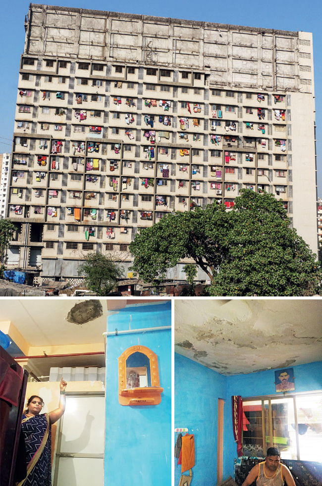 Panchsheel Nagar residents have been taking turns sitting in protest; above left: Leakage in one of the flats