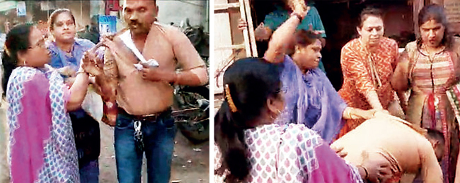 After beating him up, the women dragged Tushar Bansode to his house