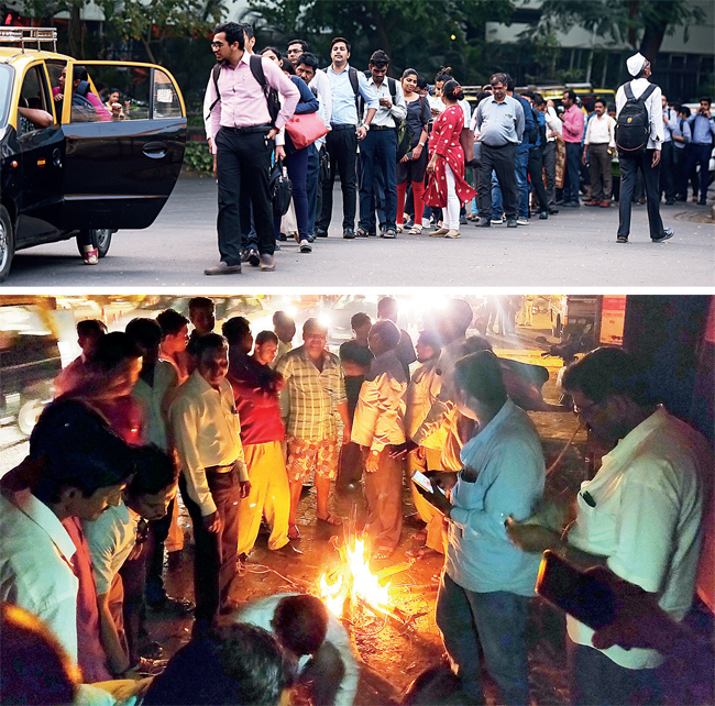 Top: While Mumbaikars lined up for alternate modes of transport, a few BEST workers (above) enjoyed the warmth of a bonfire at Anik depot, Sion