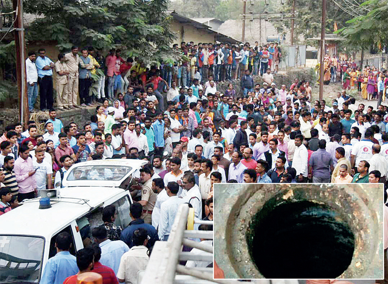 Police had a tough time in tackling the angry crowd while shifting the bodies to hospital; (inset) the manhole in Kalundre village of Panvel