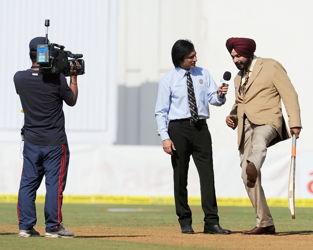File photo of Ramiz Raja and Navjot Singh Sidhu. Photo by Santosh Bane/ BCCL