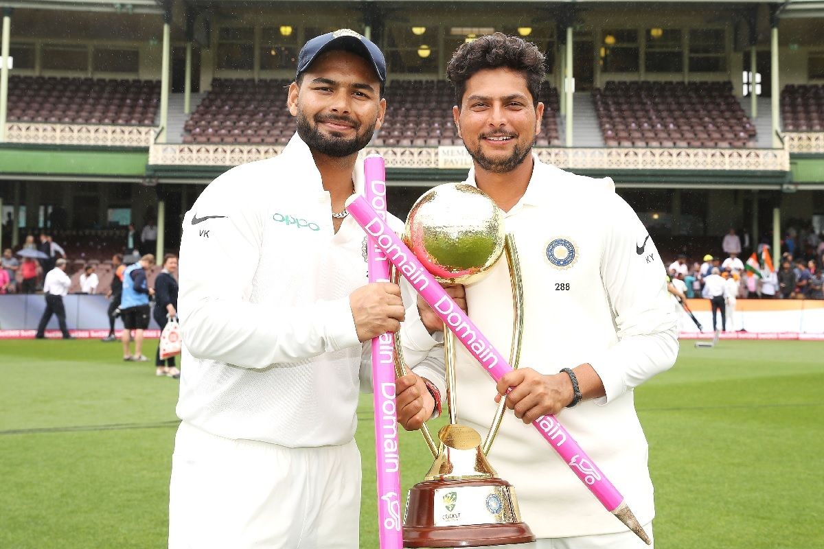 Rishabh Pant, Kuldeep Yadav with the trophy