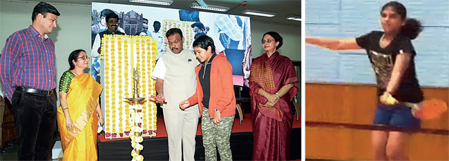 The launch of the board in Pune on Thursday; (right) Jogeshwari resident and badminton player Kiara Pawar, who is being home-schooled