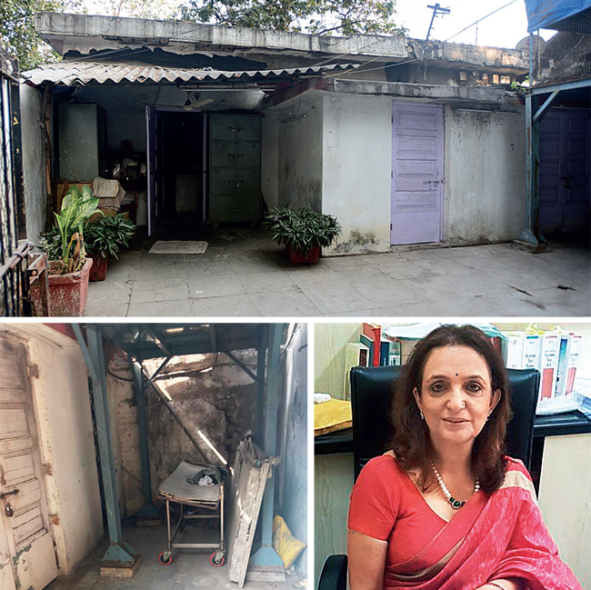 Top: The morgue is in a dilapidated condition; (above) the morgue photographed by Renu Kapoor