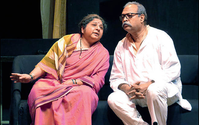 A scene from Katare's longest running play Kaal Chakra