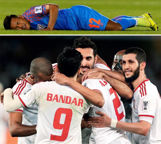 UAE celebrate scoring the second goal against India at Zayed Sports City Stadium in Abu Dhabi yesterday