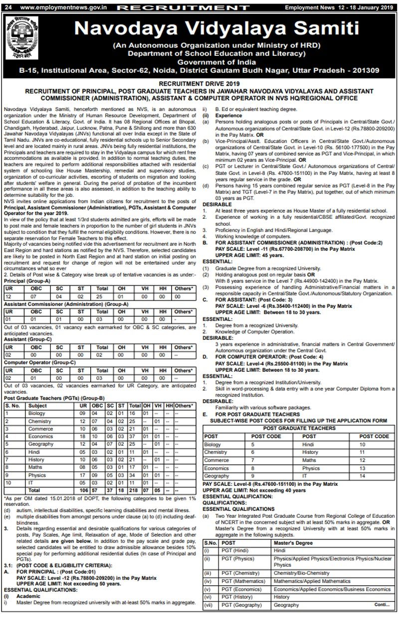 NVS Recruitment 2019: Apply for 251 teaching and non