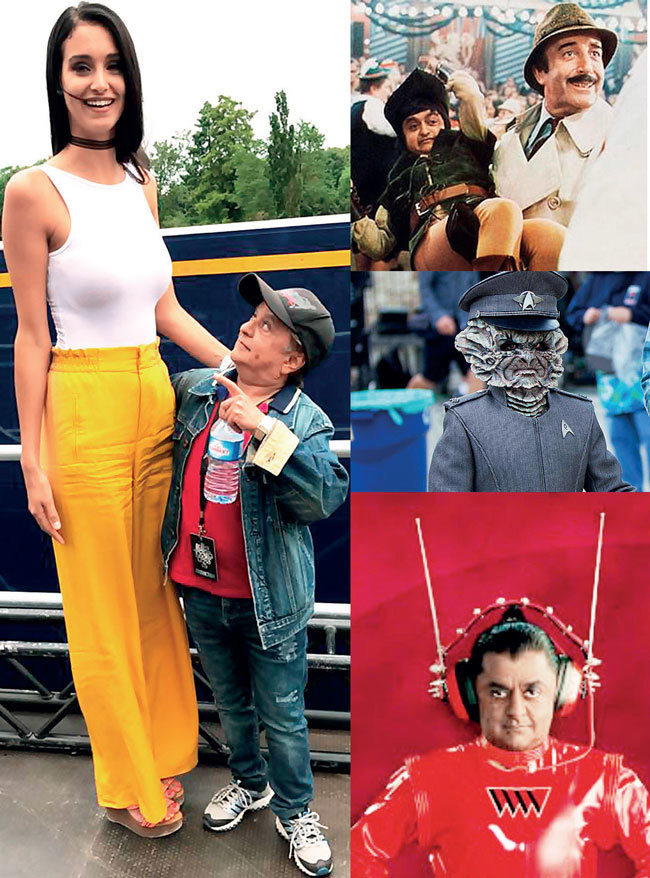 (Clockwise) Deep Roy with a French model in Paris; The Pink Panther Strikes Back; A still from Star Trek; Charlie and the Chocolate Factory