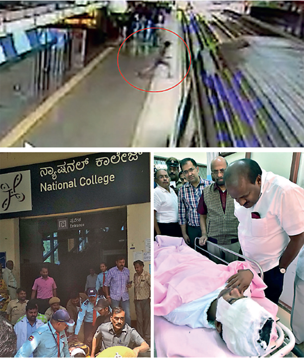 The victim Venugopal jumped in front of the train at National College Metro station at around 11.20am; the CM visited the boy at Nimhans