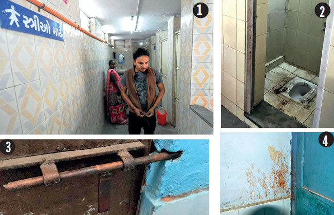 1. A man coming out of women's washroom at Dharnidhar public toilet 2. An unclean women's toilet at Vastrapur 3. Defunct door stopper at Viraatnagar 4. Paan stains on the wall at toilet outside Law Garden