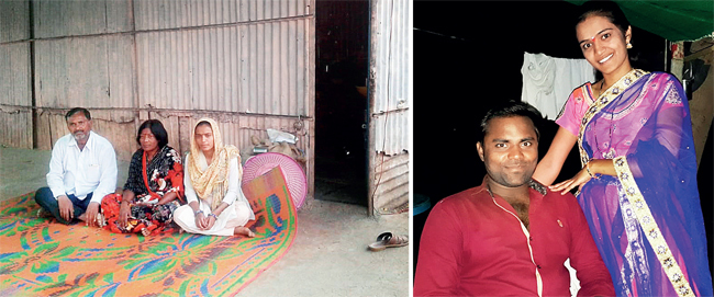 Bhagyashri Waghmare with her in-laws at their house in Beed: (right) with Sumet in file photo
