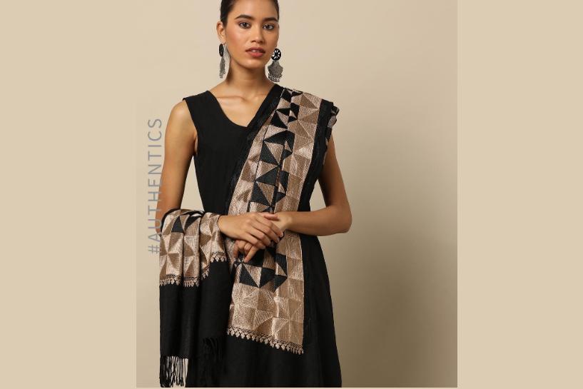 Pure Merino Wool Phulkari Shawl