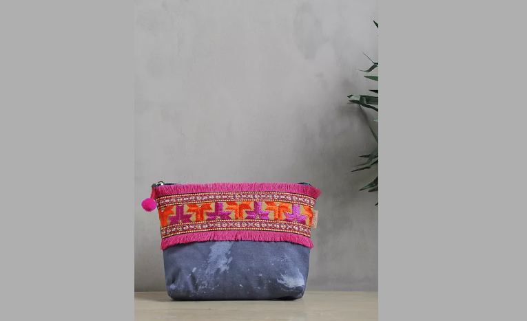 Blue-Pink Phulkari Cotton Canvas Pouch with Fringes