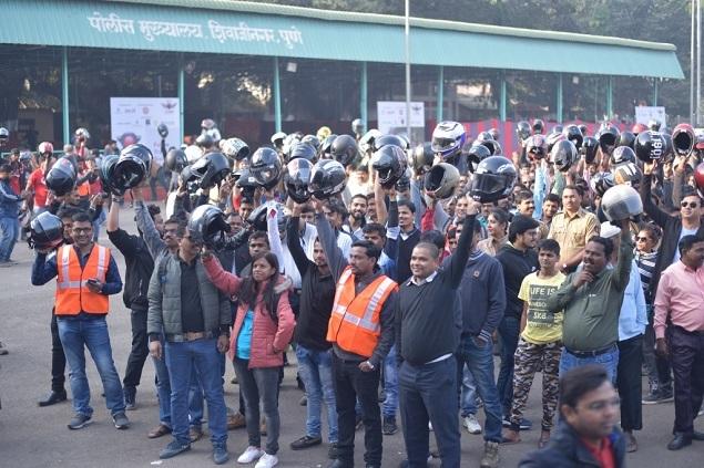 Participants at the helmet ride