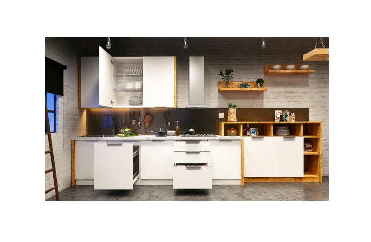 A studio kitchen with a white theme