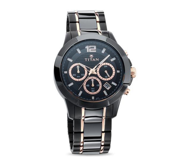 Titan 90090KD02 Ceramics Analog Watch for Men