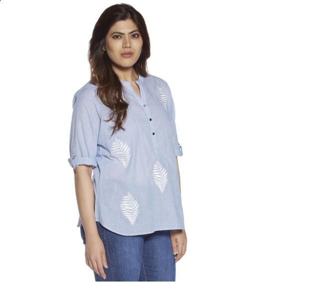 Gia curve by Westside Light Blue Embroidered Blouse