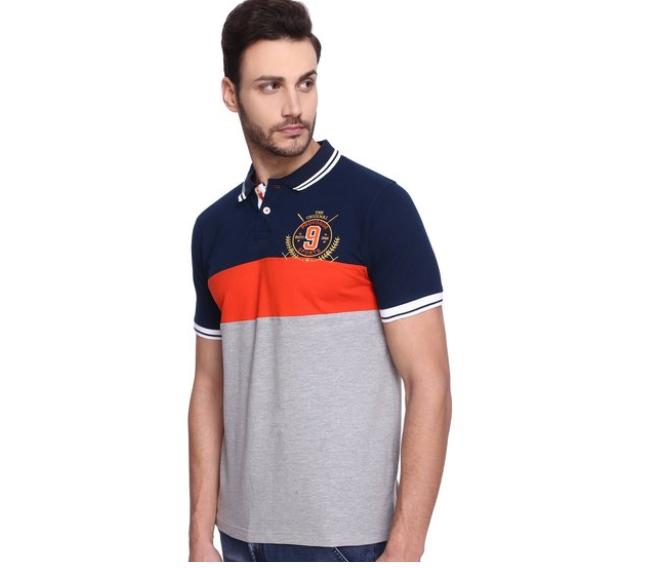 Provogue Grey & Navy Slim Fit Polo T-shirt