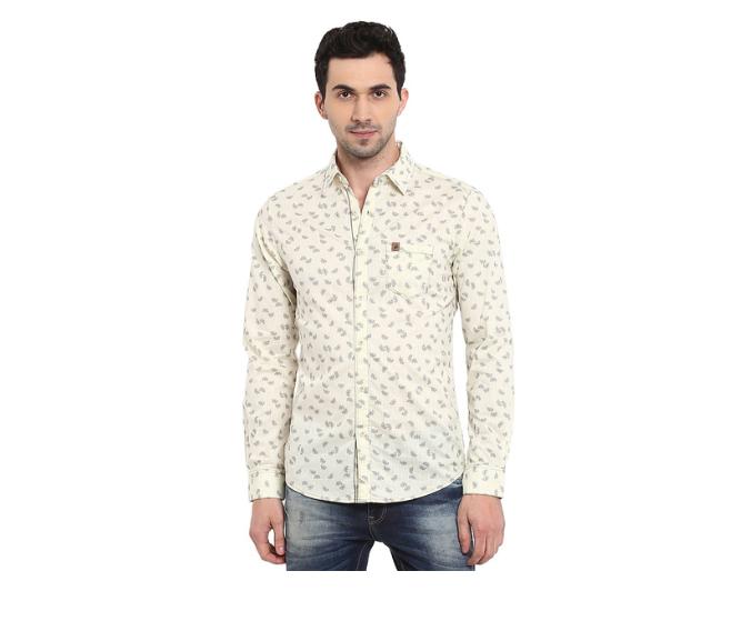 Mufti Cream Full Sleeves Printed Cotton Shirt