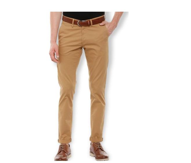 Van Heusen Khaki Mid Rise Trousers