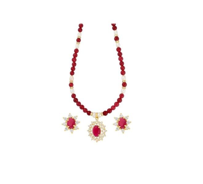 55% off on red and clear alloy necklace set