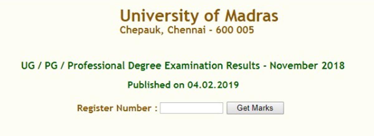 Madras University releases UG, PG Nov/Dec 2018 result
