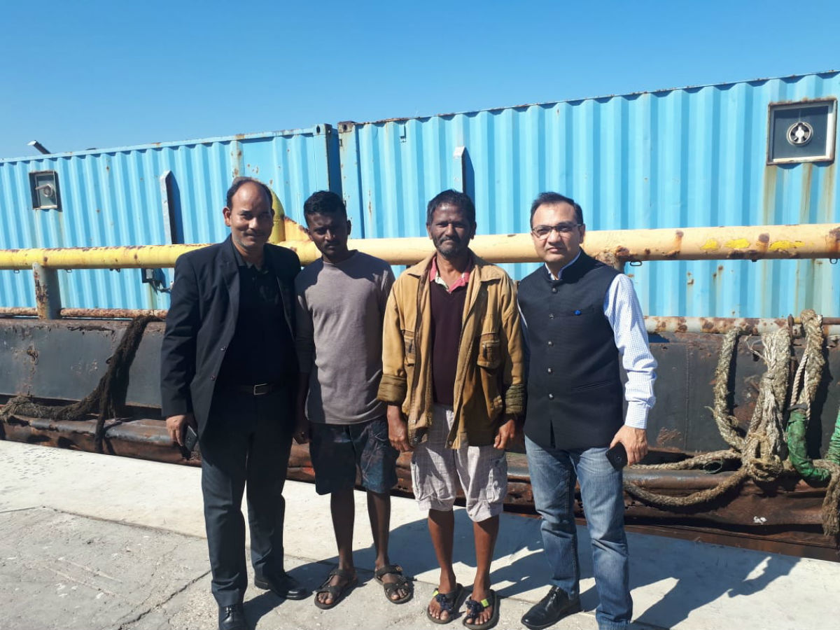 Sushil-Ship MV Abdallah - CGI Dubai officials with rescued sailors