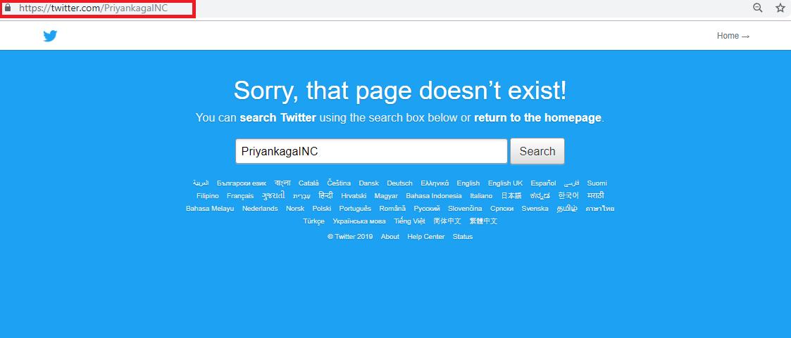 Priyanka Impostor Account Deleted