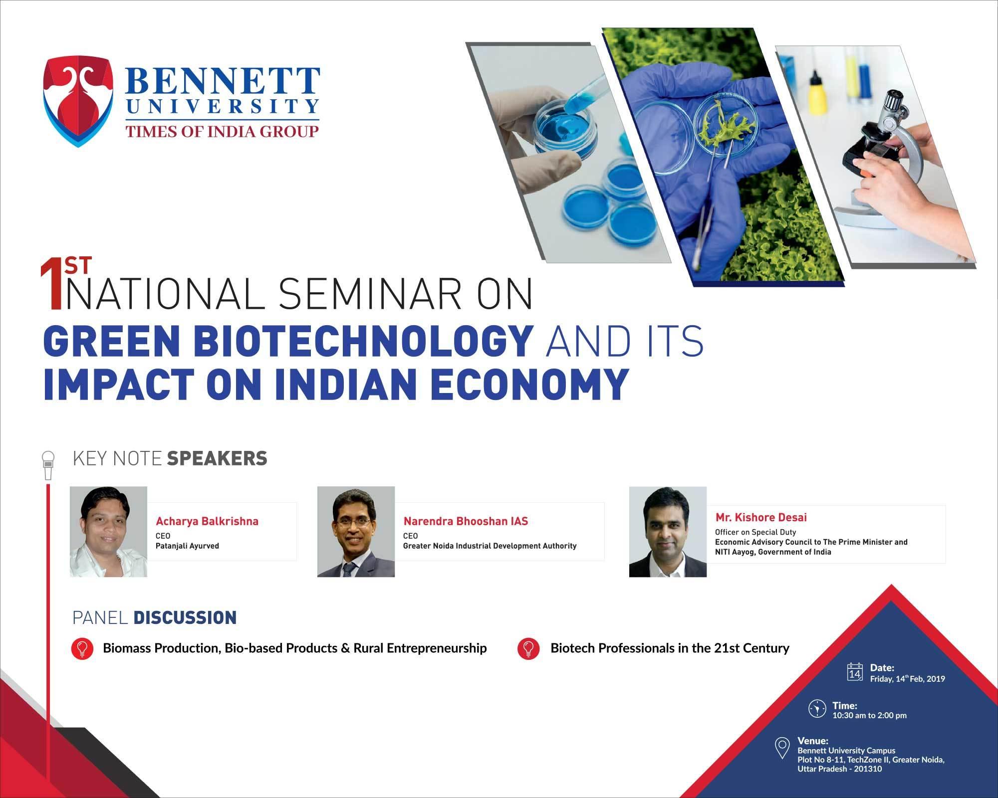 Bennett University to organise national seminar on 'Green Biotech
