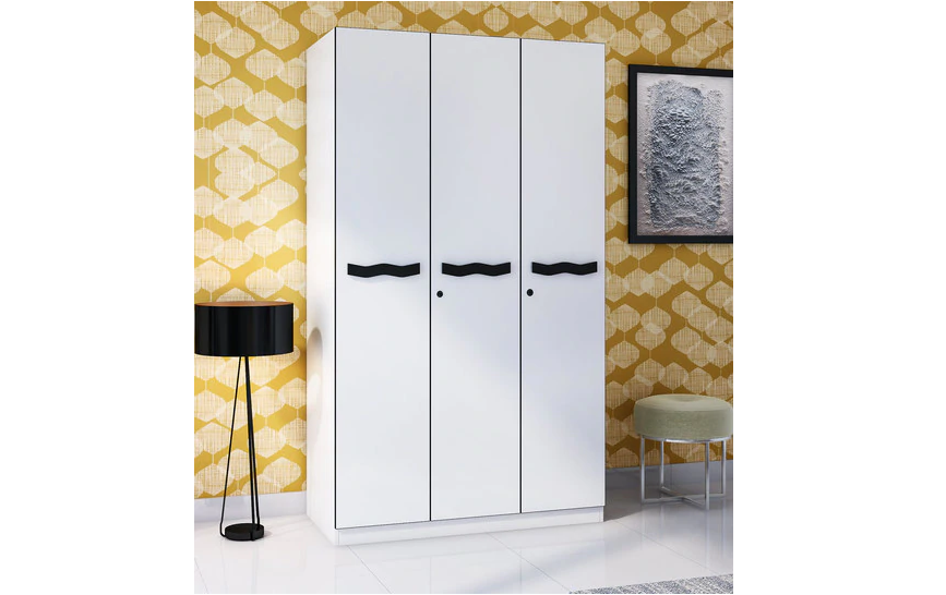 Modern three door wardrobe in white finish