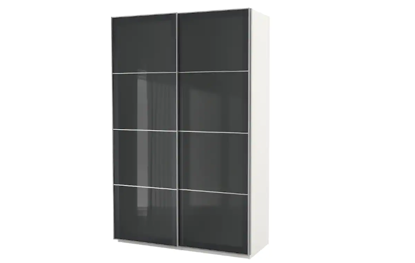 Double-door white and grey wardrobe