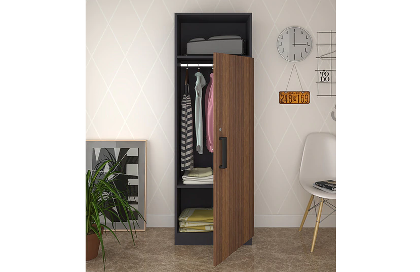 Combine open and closed storage with a sleek wardrobe