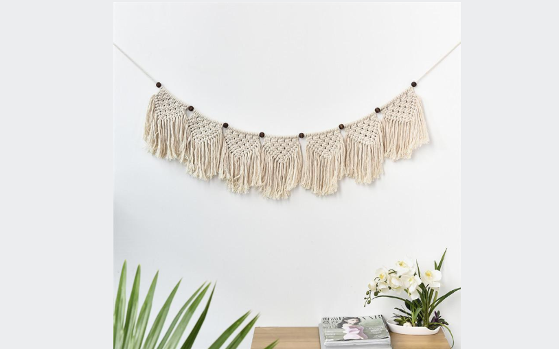 Handcrafted Macrame Hanging Bohemian Style Wall Hanging with beads