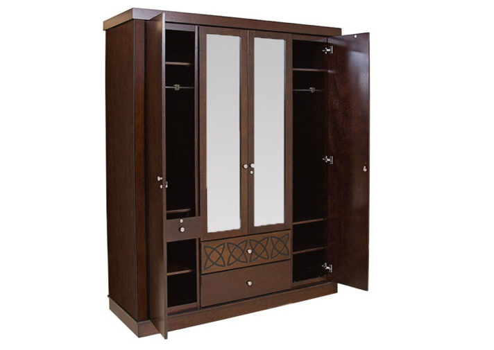 Openable wardrobe with a central dresser