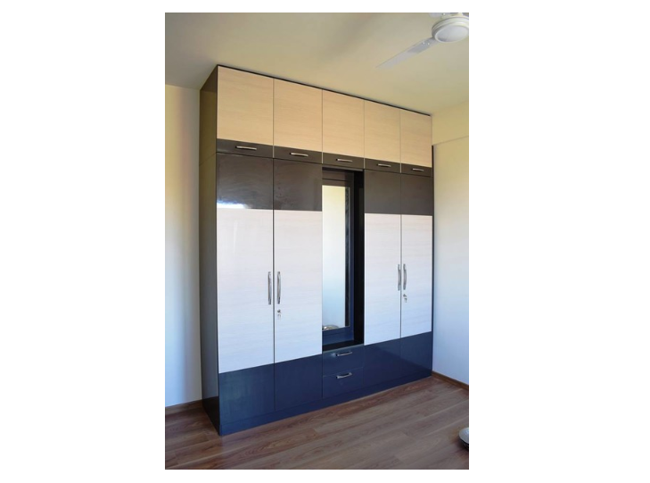 Sleek wardrobe with overhead cabinets and central dresser