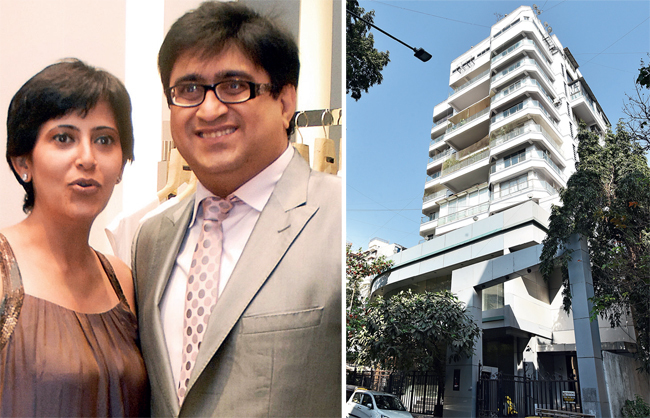 (L) Pradip Hirani and his wife Neha; (R) The apartment in New Turner Heights, in Bandra