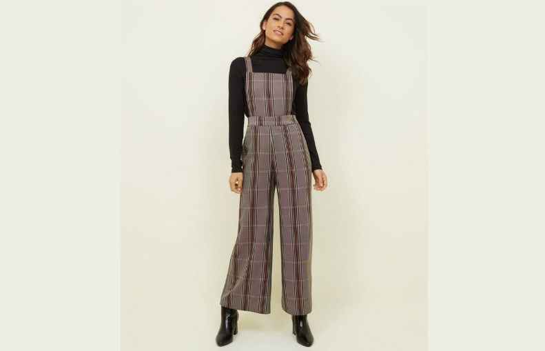 Burgundy Check Wide Leg Dungarees