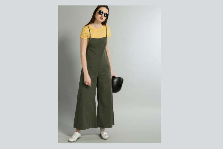 Olive Green Solid Dungarees