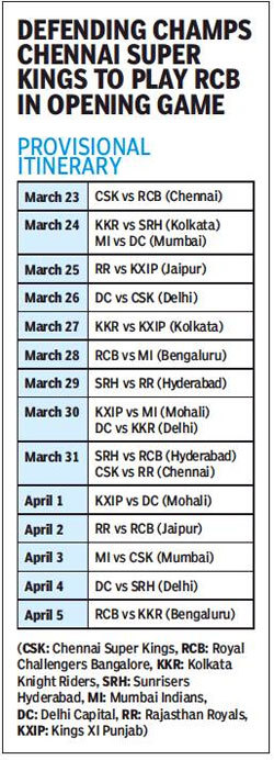 IPL 2019 schedule: CSK face RCB in IPL 2019 opener as BCCI