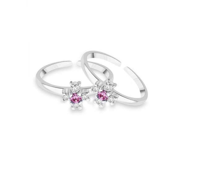 Pink & White Sterling Silver CZ Floral Toe Rings