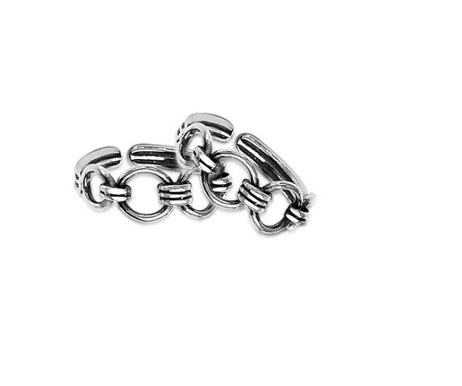 Sterling Silver Linked Cutwork Toe Rings