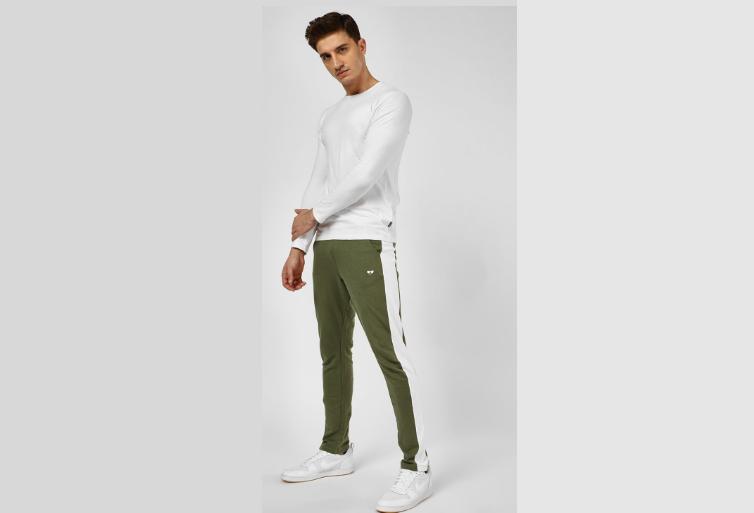 Khaki Side-stripe track pants
