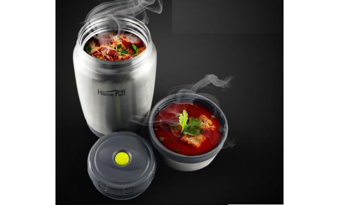 Homepuff vacuum insulated stainless steel food jar