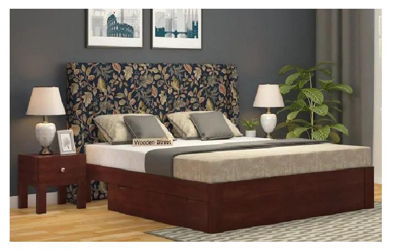 Floral upholstered bed