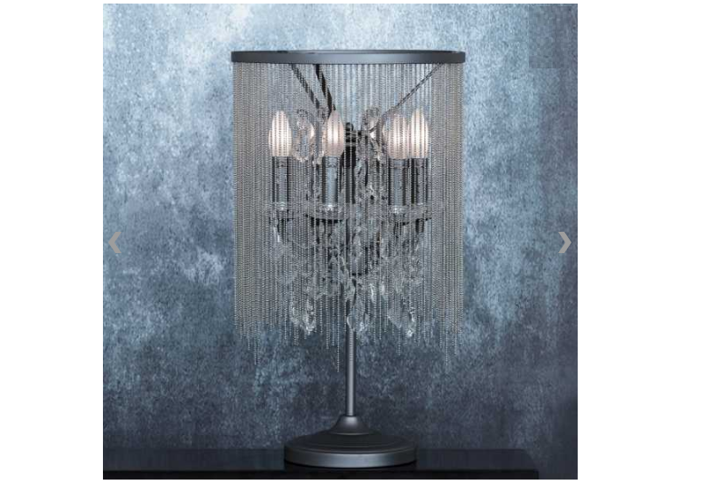 Chained crystal table lamp