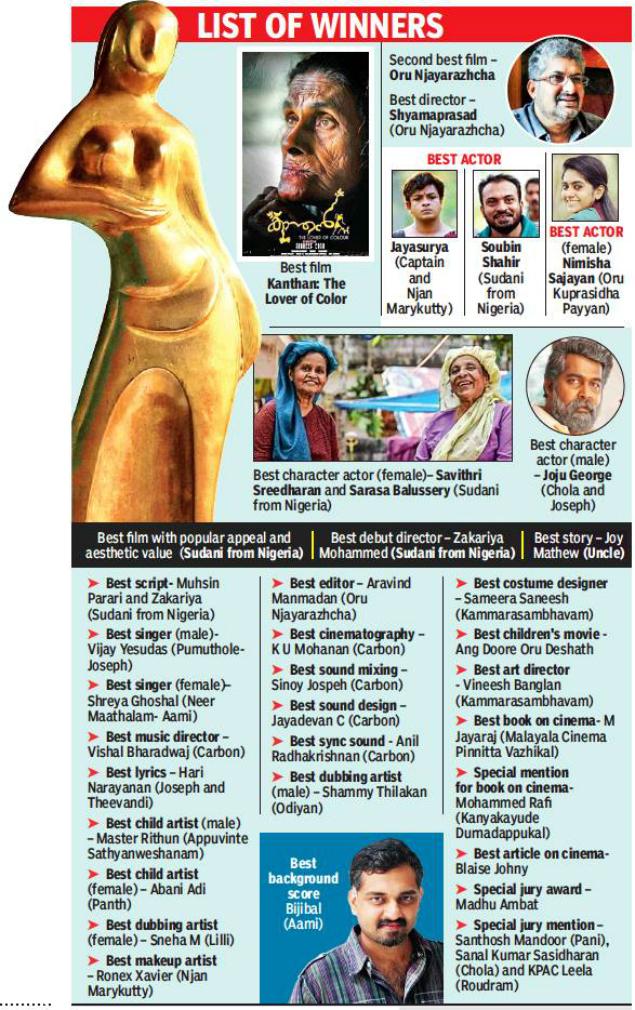 Dark Horses Triumph At Kerala State Film Awards Thiruvananthapuram News Times Of India