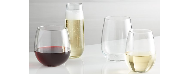 Crate and Barrel stemless wine glasses