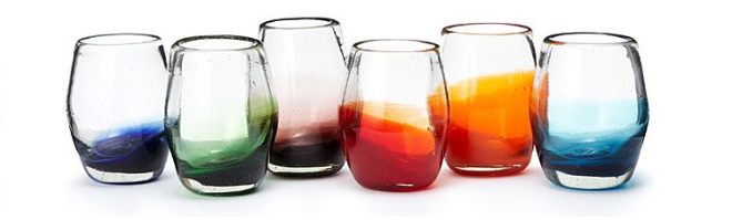 Ombre stemless wine glass set