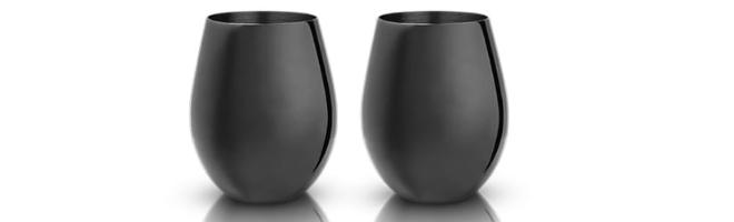 Gunmetal stemless wine glass