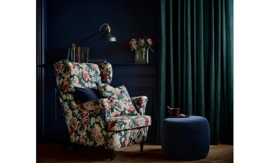 Moody floral wing chair